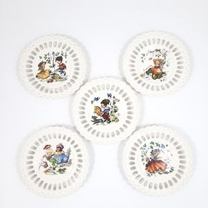 Vintage Nursery Rhyme Theme Ceramic Decor Set of 5